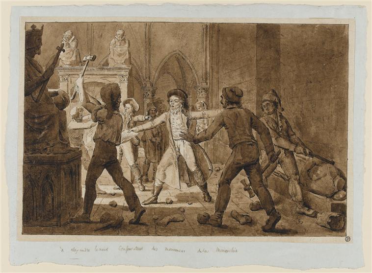 Alexandre-Lenoir-défendant-les-monuments-de-labbaye-de-Saint-Denis-contre-la-fureur-des-terroristes-fin-XVIIIe-siècle-encre-sur-papier-Paris-Louvre.
